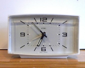 Vintage 1970's Alarm Clock - Pale Grey Gray Alarm Clock - Metamec Working Alarm Clock