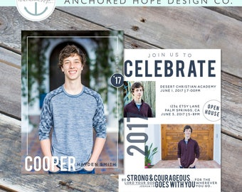 Graduation Announcement | Christian | High School Graduation | College Graduation | Open House Invitation | Multi Photo