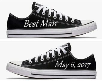 Custom Best Man Wedding Converse Black Hand Painted
