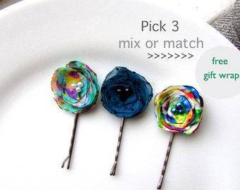 PICK 3 Decorative Hair Pins, Teen Stocking Stuffer for Girls, Tweens, Mini Bobby pin, Floral Hair Clips, Colorful Mix Variety Assorted Set