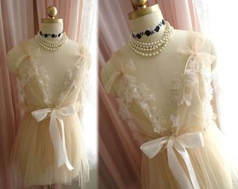 Romantic Fairy Tunic Khaki Lace Applique Bridal Wedding Lingerie Dress Nightgown Slip Sheer Dreamy Women's Beach Coverup Sheer Shabby Chic