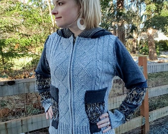 Medium- The grays elf sweater, fairy hood, patchwork sweater, pixi hood, gypsy ooak sweater, upcycled sweaters, boho hoodie, hippie, gothic