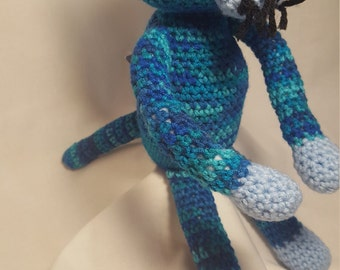 Blue Crochet Kitty Cat, Amigurumi Stuffed Animal, Crochet Cat Doll, Blue Cat, Stuffed Cat Toy, Toys for Kids, Amigurumi Cat, Cat Lover