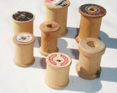 Antique Wooden Thread Spools - Set of 7