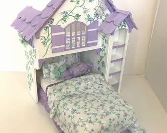 LAVENDER BLUE with Butterflies PLAYHOUSE Bed Dollhouse Miniature Custom Built Hand-Painted Fairy Garden Delight
