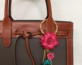 Camilla flowers inspired leather bag/purse  and keychain