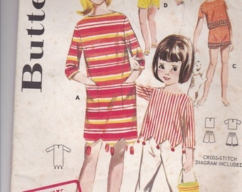 1960's Sewing Pattern - Butterick 2754 Girls Sportswear Beach Dress, Overblouse, Pants Size 6 Factory folded, Complete