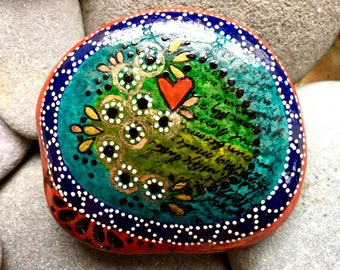 Reserved for Kim/ always start with love / painted stones/ rock art / boho art / love from cape cod/ coffee table art / stone art / rocks