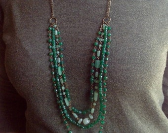 Long layered semi precious stone necklace