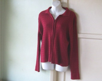 Cabled Cranberry Red Cardigan Button Up Sweater with Collar~Girls'/Women's Medium Red Cardigan