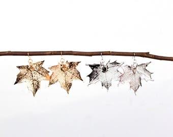 Maple Leaf Earrings | gold maple leaf, silver maple leaf, gold leaf, silver leaf, leaf earrings, nature lover, earrings, canada 150