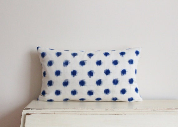 "SALE - Limited edition ikat spot pillow cushion cover 12"" x 20"" in denim blue"