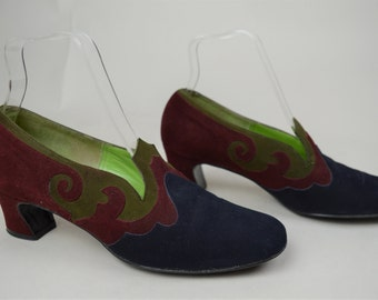 60s Navy Red Suede Leather Low Heel Loafer Pumps UK 5 / US 7.5 / EU 38