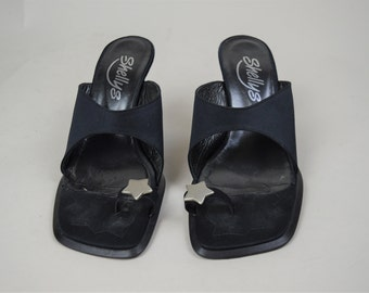 90s Grunge Goth Black Toe Post Silver Star Slip On Mules UK 5 / US 7.5 / EU 38