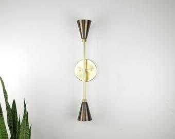 Monroe- Brass lighting Cone light.  Modern mid century wall light lamp with brass cone shades UL LISTED