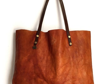 HOLIDAY SALE /// Tote Bag / Vintage Cognac Color / Carry-All / Lap Top Bag / Veg Tan