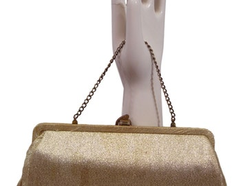 50S Gold Frame Bag Convertible Fabric Clutch Purse