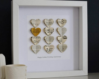 Gold Heart Anniversary Artwork - Golden Wedding Anniversary Picture - Personalised Love Heart Wall Art - Golden Anniversary Romantic Gift
