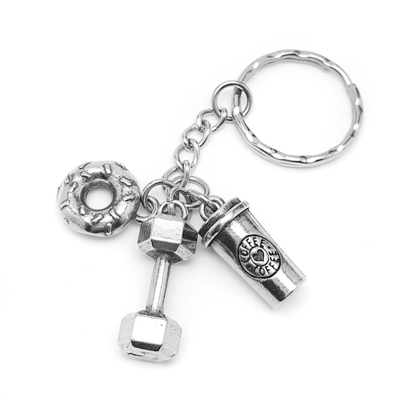 Will Lift for Coffee and Donuts Keychain - Lifting Keychain - Workout Accessories - Gym Accessories - Dumbbell Key Chain