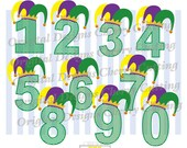 Mardi Gras Numbers 0 through 9 SVG,Jester hat numbers 0-9 svg,Mardi Gras Silhouette & Cricut Cut Files MG001-Personal and Commercial Use