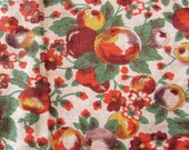 vintage feed sack fabric pieces -- yellow and orange fruit print