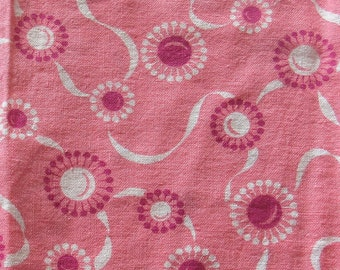vintage feed sack fabric piece -- pink abstract floral print