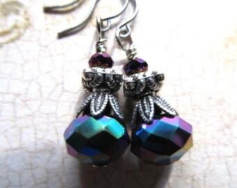 Art Nouveau Earrings Art Deco Earrings Peacock Earrings Sterling Earrings 1920s Earrings Blue Drop Earrings Purple Dangle Earrings- Dazzle
