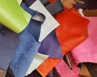 Leather Scraps Trimmings, Leather Off Cut, Leather pieces Embellishments, Cow Hide, Full Top Grain, Leather Craft, Assorted Colours,