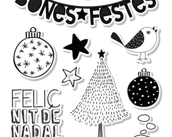 """Pack of clear stamps set - catalan - high quality - """"Bones Festes"""""""