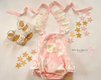 Twinkle Twinkle Little Star Romper - Twinkle Twinkle First Birthday - Shooting Star Romper - Pink and Gold First Birthday Outfit