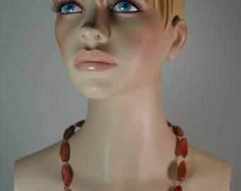 Vintage 1950 Genuine Horn Beads Long Necklace Art Deco