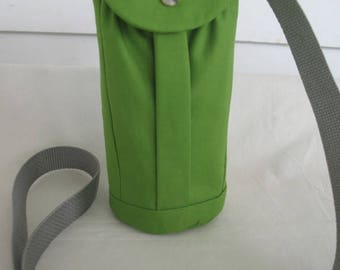 Water Bottle Holder Sling//Walkers Insulated Water Bottle Cross Body Bag// Hikers Water Bag-Grass Green