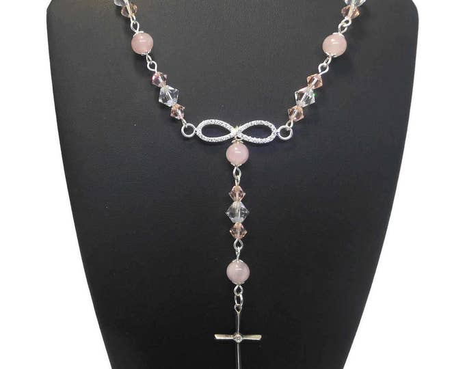 FREE SHIPPING Crystal quartz Y necklace, Swarovski crystals, pink quartz beads, sterling silver wire wrapped, pave CZ infinity
