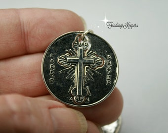 The Lords Prayer Pendant, Cross Charms  Antique Silver Tone 28 mm  sc330
