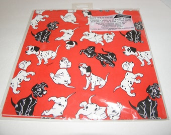 Disney 101 Dalmations Wrapping Paper Puppy Dog Gift Wrap Paper by Contempo Vintage USA Made Sealed Package Never Opened