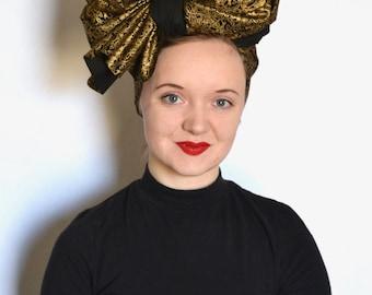 Billie - gold black metallic rectangle head wrap head scarf vintage turban