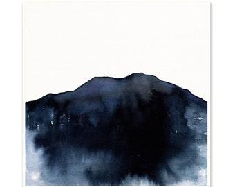 Blue Modern Minimalist Art Print. Indigo Watercolor Mountain Art. Apartment Wall Art. Blue Watercolor Art. Monochromatic Indigo Wall Art.
