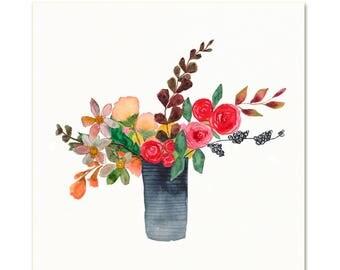 Autumn Colored Flower Bouquet Art. Watercolor Bouquet Art Print. Earth Tones Flower Bouquet. Traditional Floral Painting. Living Room Art.