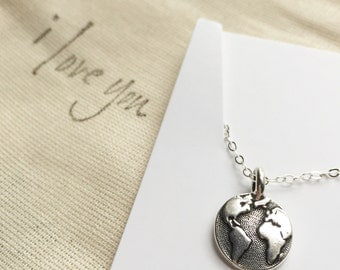 globe necklace | wanderlust charm necklace | traveler's necklace | graduation gift | mother earth necklace | christmas gift | earth day