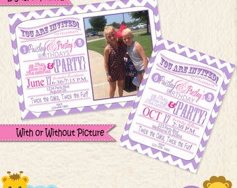 Sisters Joint Party Pink and Purple Printable Invitations  • Twins Printed Invites • Digital • Twins Invitation  • Twins Birthday Party
