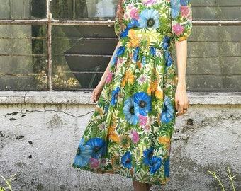 Vintage floral dress, midi dress,size medium