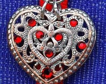 NECKLACE, HEART Pendant, OOAK, Silver, Red Swarovski Crystals, Zipper ,Eccentric, Unique, Bold, Whimsical, Sassy, Feminine, Dare to Wear,