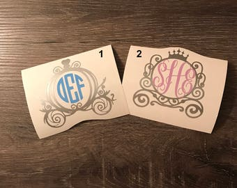Cinderella Carriage Monogram Vinyl Decal, Princess, Disney, Yeti Decal, Monogram, Laptop Monogram, Vinyl Monogram Phone Sticker, Car Decal