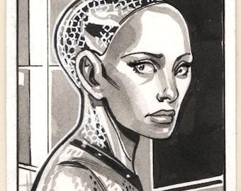 Ava Ex Machina Inktober Sketch Card