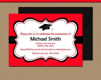 Printable Graduation Invitation Template Black Red High School Graduation Invitation 2017 Graduation Invites Printable Graduation Sign G1