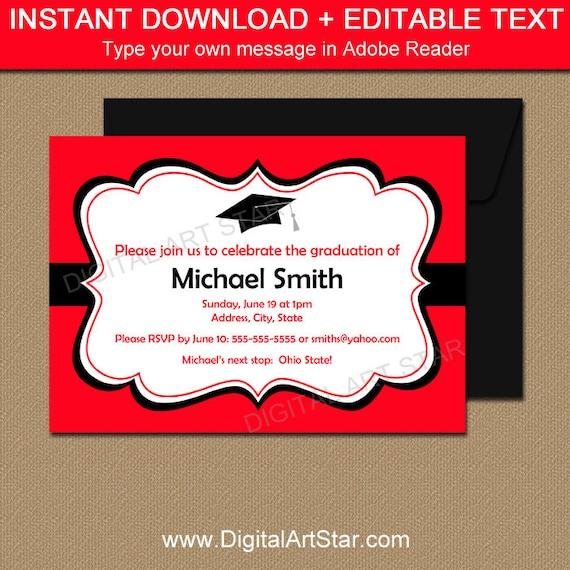 Printable graduation invitation template black red high school il570xn maxwellsz