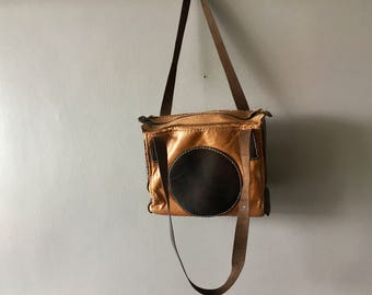 Natural tanned leather vintage tote bag