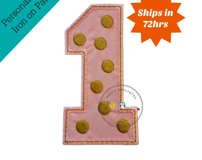 Gold and rose pink birthday number one iron on applique, Rose pink fabric iron on number 1, gold embroidered iron on patch birthday number 1