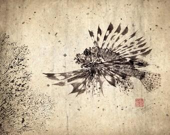 LIONFISH (Hanami No Kasago) Gyotaku print - traditional Japanese fish art  by dowaito