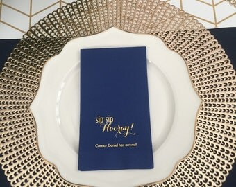 Sip Sip Hooray Personalized Guest Towels | Sip and See Napkins  | Baby Shower Napkins | Birthday Napkins